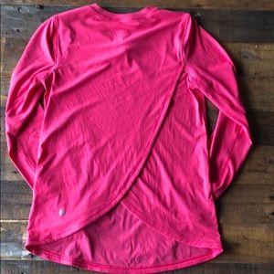 Lululemon pink open back long sleeve top sz 2